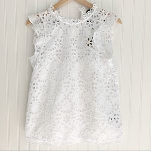 J. Crew Tops - J. Crew Mockneck Embroidered Eyelet Top NWT